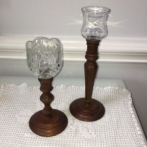Wooden candle holders set of two